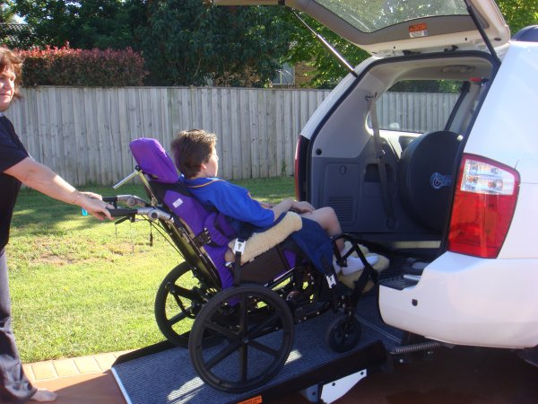 Freedom Motors Australia | Customer Testimonials - Wheelchair Accessible Vehicle Conversions - ../../dc/testimonials/sally_going_into_car.jpg