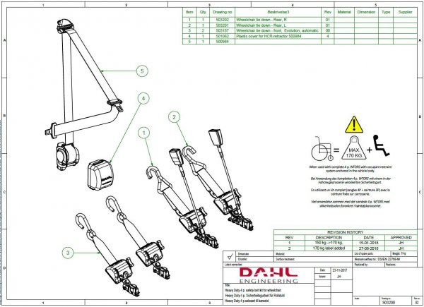Handicap Vans, Disability Buses, Wheelchair Access Vehicle Conversion Products - DAHL 170 KG HEAVY DUTY WHEELCHAIR RESTRAINTS