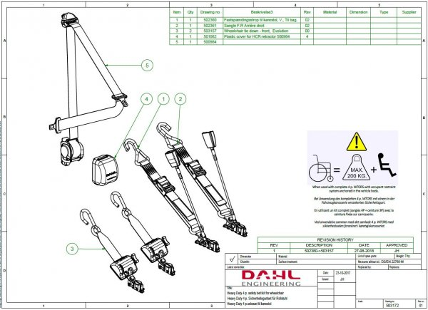 Handicap Vans, Disability Buses, Wheelchair Access Vehicle Conversion Products - DAHL 200 KG HEAVY DUTY WHEELCHAIR RESTRAINTS