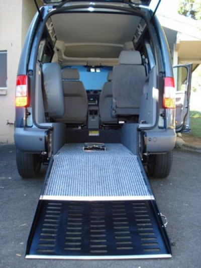 VW Caddy Range wheelchair vehicle - Wheelchair ramp close up view