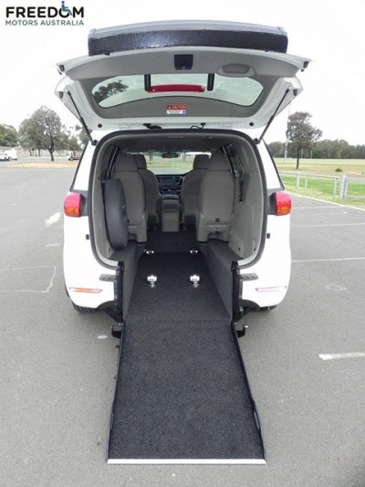 Kia Carnival YP wheelchair vehicle - Rear internal view with wheelchair ramp down