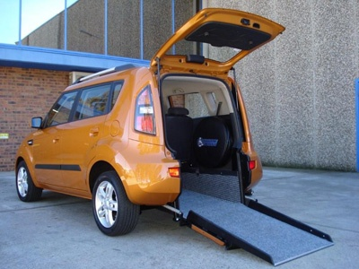 Kia Soul wheelchair vehicle - open angled left rear view