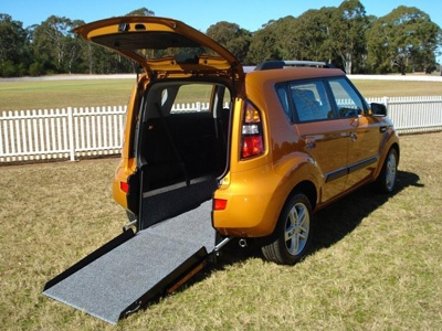 Kia Soul wheelchair vehicle - open angled right rear view
