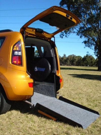 Kia Soul wheelchair vehicle - wheelchair ramp close up