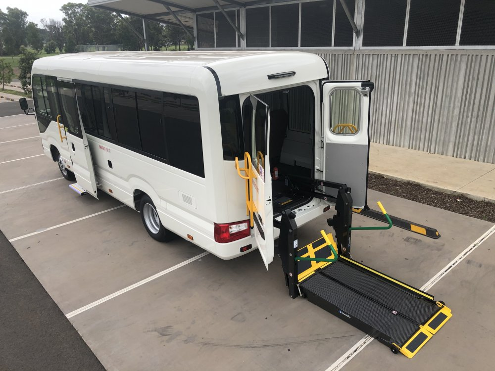 Toyota Coaster wheelchair accessible vehicle conversion