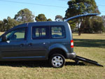 Volkswagen Caddy wheelchair access vehicle - Rear access & wheelchair ramp side view