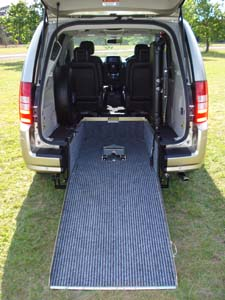 Chrysler Grand Voyager wheelchair vehicle - rear view ramp close up