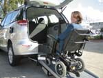 Toyota Tarago wheelchair access vehicle - Wheelchair on ramp view