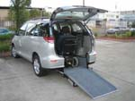 Toyota Tarago wheelchair access vehicle - Rear open view with wheelchair in place