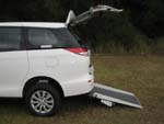 Toyota Tarago wheelchair access vehicle - Open rear & wheelchair ramp side view